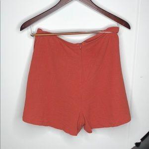 Lush Shorts - LUSH Burnt Orange Linen High-Waisted Shorts